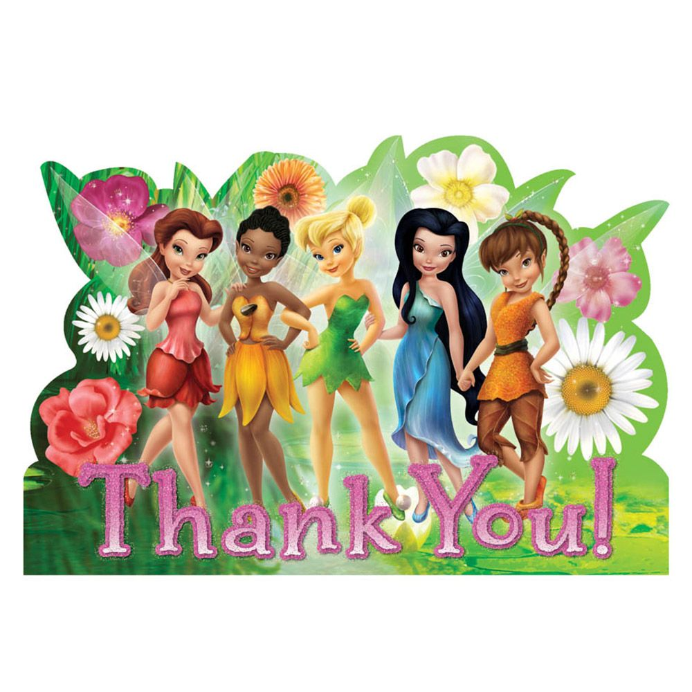 Tinkerbell Postcard Thank You Cards (8 Pack) - Party Supplies