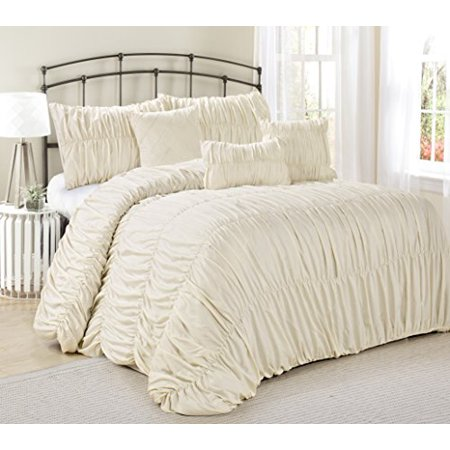7 piece rosales chic ruched ruffled pleated clearance bedding comforter set fade resistant. Black Bedroom Furniture Sets. Home Design Ideas