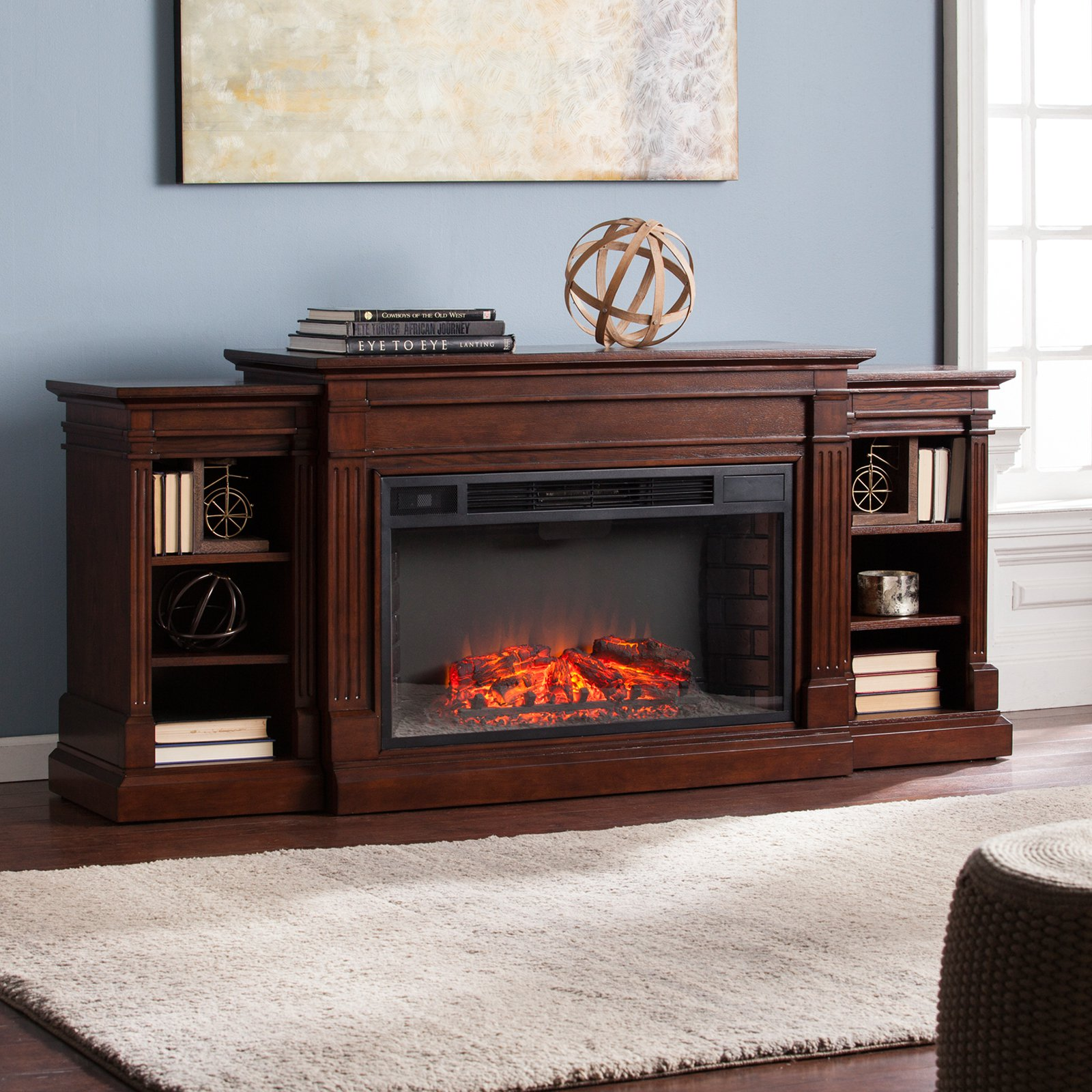 Southern Enterprises Reese Widescreen Electric Fireplace with Bookcase