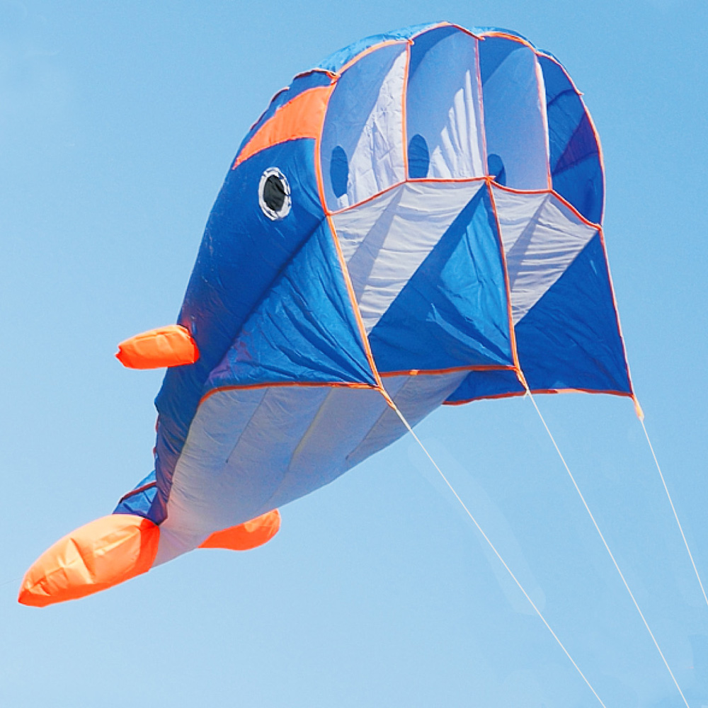 Large Kites To Fly Outside Kites On Sale For Kids Kites To Fly Outdoors Soft Blue Dolphin Stunt Kite Parafoil Kite 3D Kites Frameless Kite
