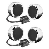 "Boss 4"" 1000W Full Range Motorcycle ATV Bluetooth Speakers Pair and Amp (2 Pack)"