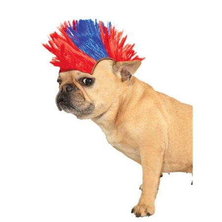 Medium Large 80s Red Blue British Patriotic Punk Rocker Mohawk Wig For Pet Dog for $<!---->