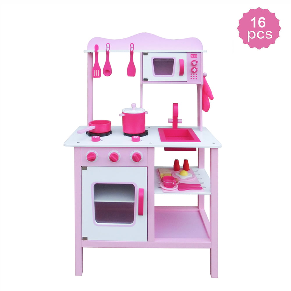 Play Kitchen Set, Kids Wood Kitchen Toy Cooking Pretend to ...