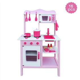 Kids Kitchen Accessories >> Play Kitchen Set Kids Wood Kitchen Toy Cooking Pretend To Play Set With 16 Piece Cookware Accessories Kitchen Accessories For Kids Kitchen Playset