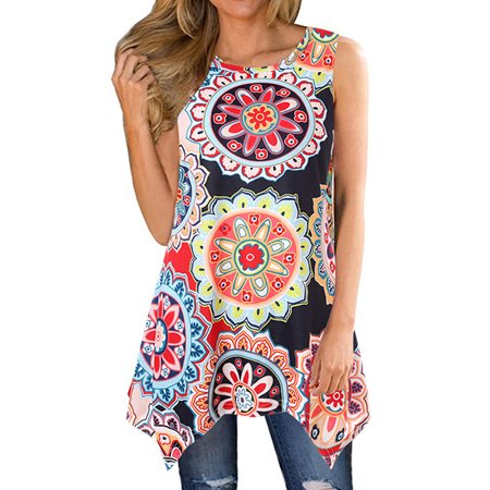 711ONLINESTORE Women Floral Printed Sleeveless Irregular Hem Tunic Blouse