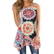 711ONLINESTORE Women Floral Printed Sleeveless Irregular Hem Tunic Blouse