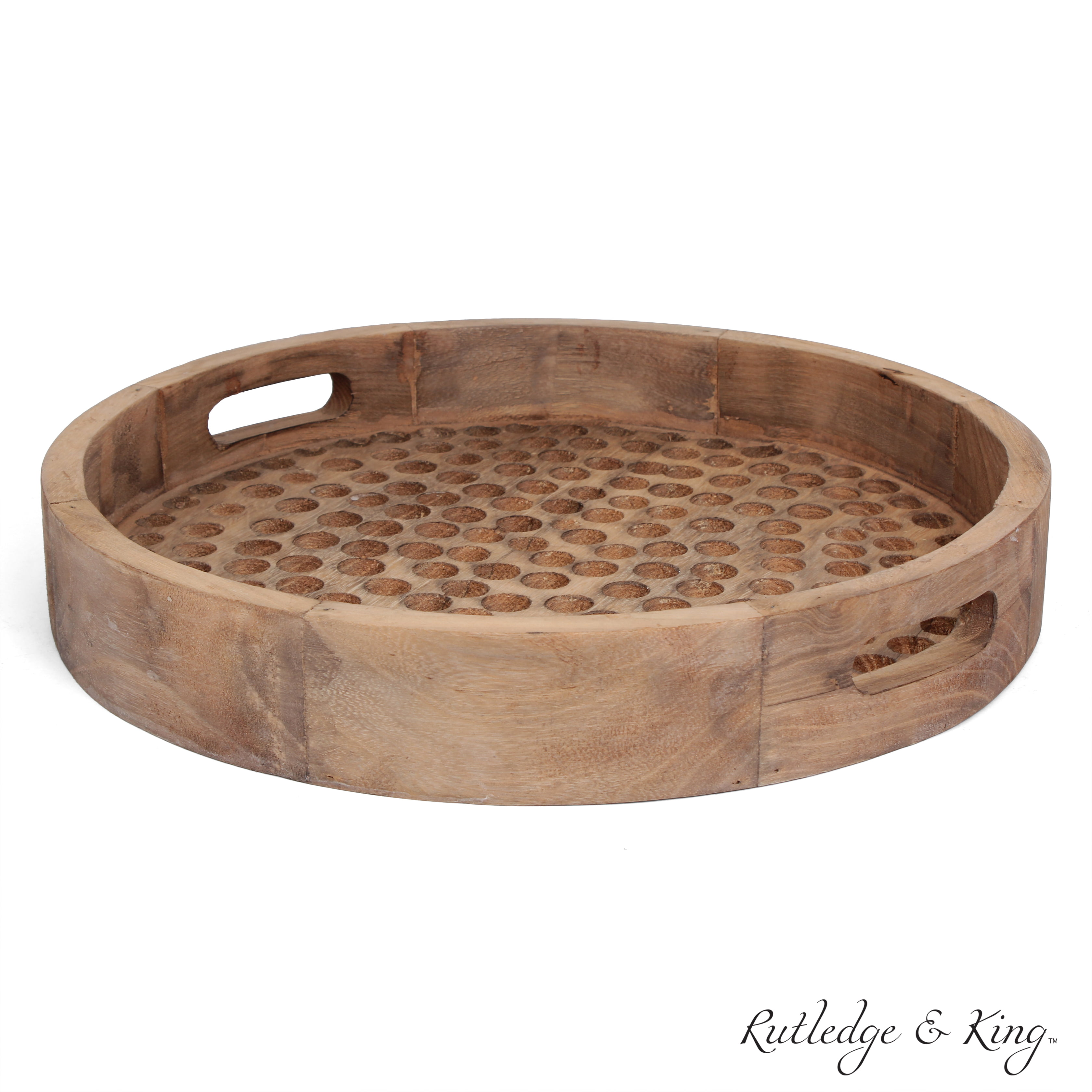 Rutledge King Brighton Serving Tray Ottoman Tray Decorative Tray Coffee Table Tray Round Wooden Tray Breakfast In Bed Tray With Handles Rustic Wood Tray Walmart Com Walmart Com