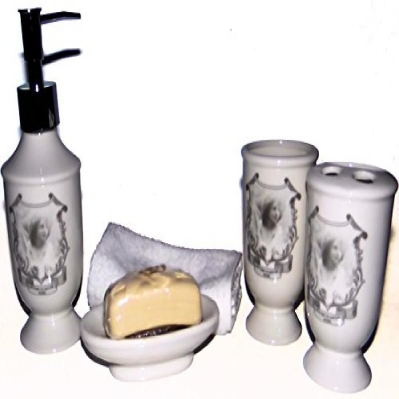 White Rose Design 6 Piece Ceramic Bath Ensemble - Soap, S...