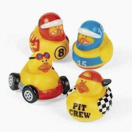 Fun Express Rubber Ducky Duck Duckie Race Car Birthday Party Favors Set (12 Piece) - Racing Party