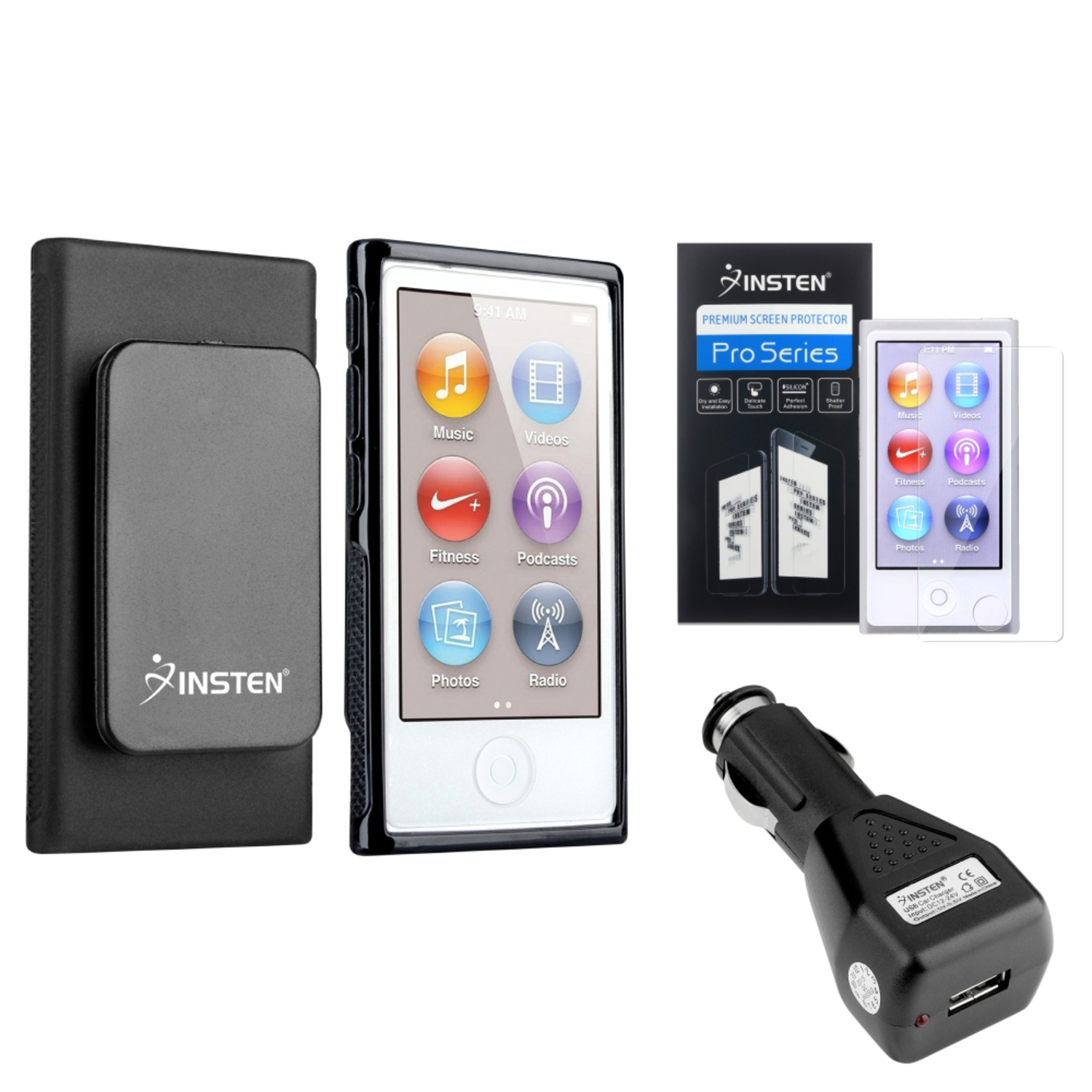 Insten Black TPU Case w/Belt Clip Film Car Charger Adapter For iPod Nano 7 7G 7th Gen
