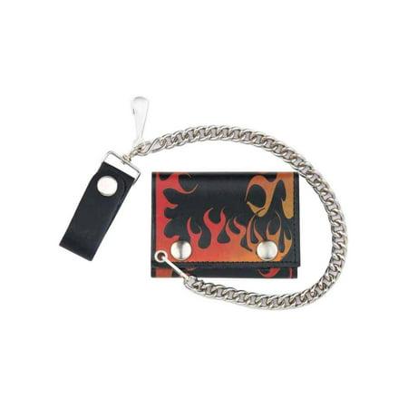 Men's Flames Tri-Fold Biker Styled Chain Wallet, Genuine Leather TC304C-111 Leather Biker Chain Wallet