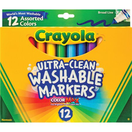 Crayola Ultra-Clean Washable Markers, School Supplies, 12 - School Supplies On Sale