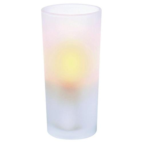 Inglow Flameless Frosted Glass Candle Holders with Plastic Votive Candles, White, Set of 6