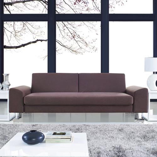 Corvus  Gibson Brown Futon Sofa Bed with Stainless Steel Legs