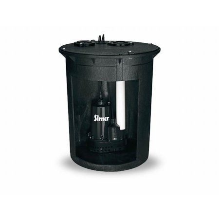 Simer 3985C 1/2 HP Pre-Plumbed Submersible Basement Sump Pump and Basin
