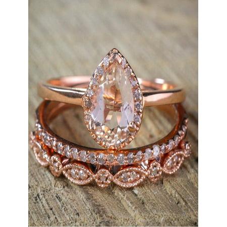 On 2 25 Carat Pear Shape Morganite And Diamond Halo Trio Bridal Wedding Ring Set Antique