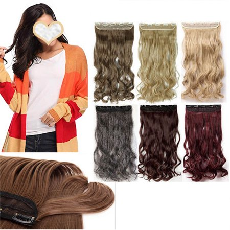 S-noilite Synthetic Fiber Clips in on Hair Extension 3/4 Full Head One Piece 5 Clips Long Silky Curly Wavy Dark black-24
