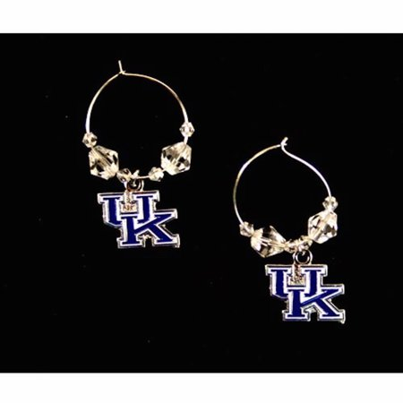- NCAA Licensed Clear Bead Hoop Dangle Earrings (Kentucky Wildcats)