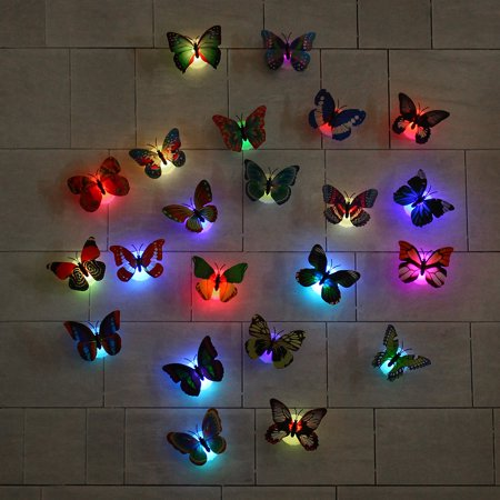 Fashion LED Glowing 3D Butterfly Night Light Sticker Art Design Mural Home Wall Decal  - image 11 of 12