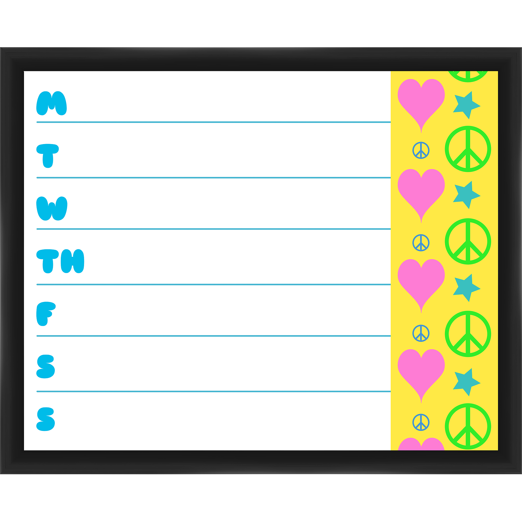Heart and Peace Black Memoboard
