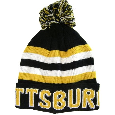 Pittsburgh Adult Size Winter Knit Beanie Hats (Black/Gold Thick)