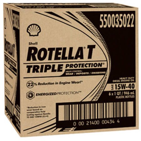Shell Rotella T, Triple Protection 15W40 Motor Oil, 1-quart, (6-pack)