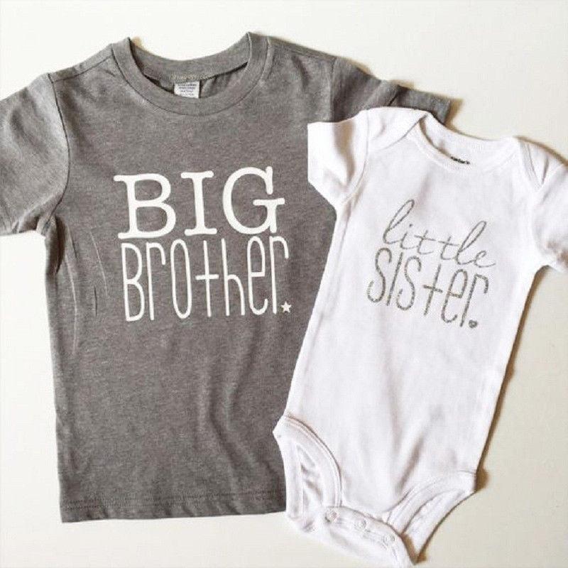Fashion Big Brother Little Sister Boys Girls Baby Kids Cotton T-shirt//Romper