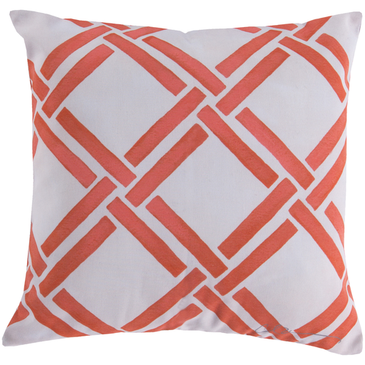 "20"" Off-White and Coral Pink Nautica Tresse Square Outdoor Throw Pillow"