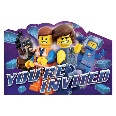 Movie Invitations (LEGO Movie 2 Invitations w/ Envelopes)