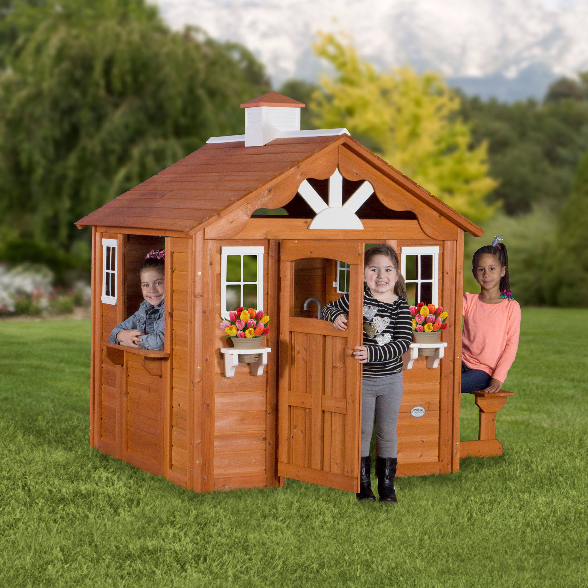 playhouse backyard discovery summer cottage wooden cedar outdoor kids fun new ebay. Black Bedroom Furniture Sets. Home Design Ideas