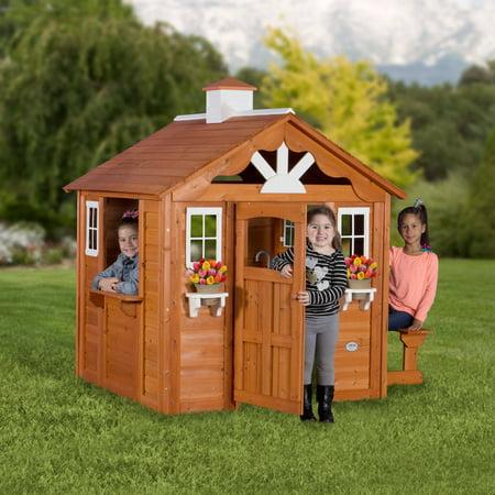 backyard discovery summer cottage wooden cedar playhouse