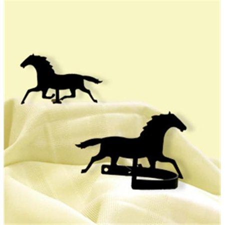 Village Wrought Iron CUR-TB-17 Running Horse - Curtain Tie Backs ()