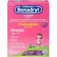 3 Pack - Benadryl Children's Allergy Chewable Tablets, Grape Flavored 20 ea