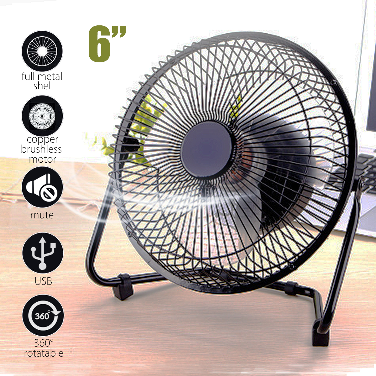 6'' Metal Cooling Fan Electrical 360° Rotatable air cooler USB Rechargeable Desk Cooler Fan with 2x 18650 Batteries