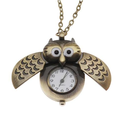 Pocket Watch Pendant - Antiqued Brass Quartz Motion - Owl With Wings And Chain