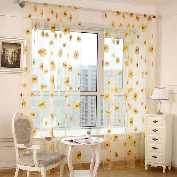Window Curtain, Outgeek 2 Panels Floral Sunflower Sheers for Living Room Bedroom Kitchen Home Decor, Set of 2