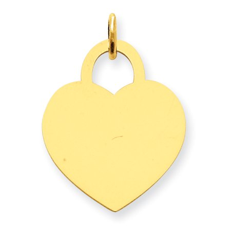 14K Yellow Gold Large Engravable Heart Charm - image 2 of 2