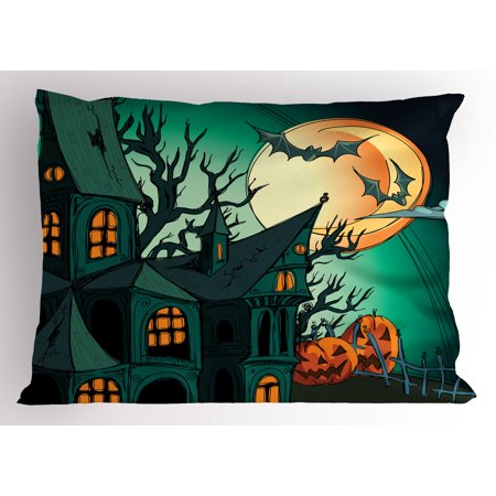 Halloween Pillow Sham Haunted Medieval Cartoon Style Bats in Twilight Gothic Fiction Spooky Art Print, Decorative Standard Size Printed Pillowcase, 26 X 20 Inches, Orange Teal, by Ambesonne](Bat Halloween Clip Art)