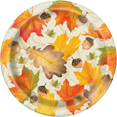 Fall Leaves Thanksgiving Party Plates, 7 in, Gold Foil, 8ct