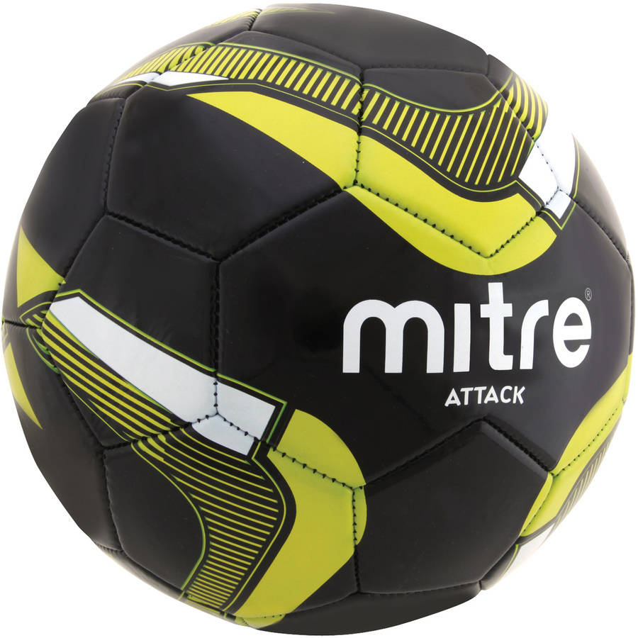Mitre Attack Soccer Ball Deflate, Black/Yellow/Silver
