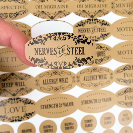 Apothecary Poly Weatherproof Labels - 120 Oval Labels Plus 120 Cap Labels for Essential Oil Products by Rivertree  Life