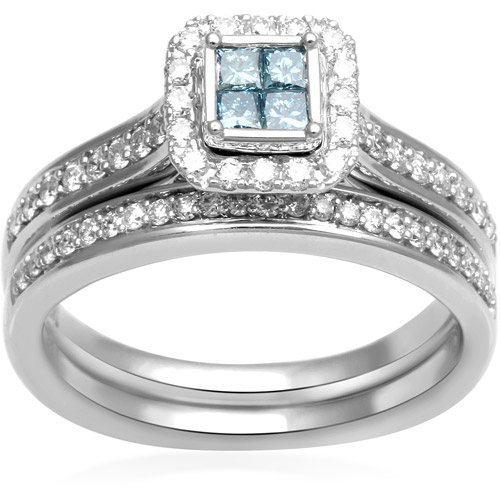 5/8 Carat T.w. Aqua And White Diamond 14