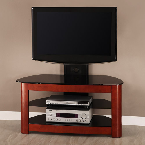Black Glass and Metal TV Stand with Removable Mount and Cherry Wood Accents, for TVs up to 52""