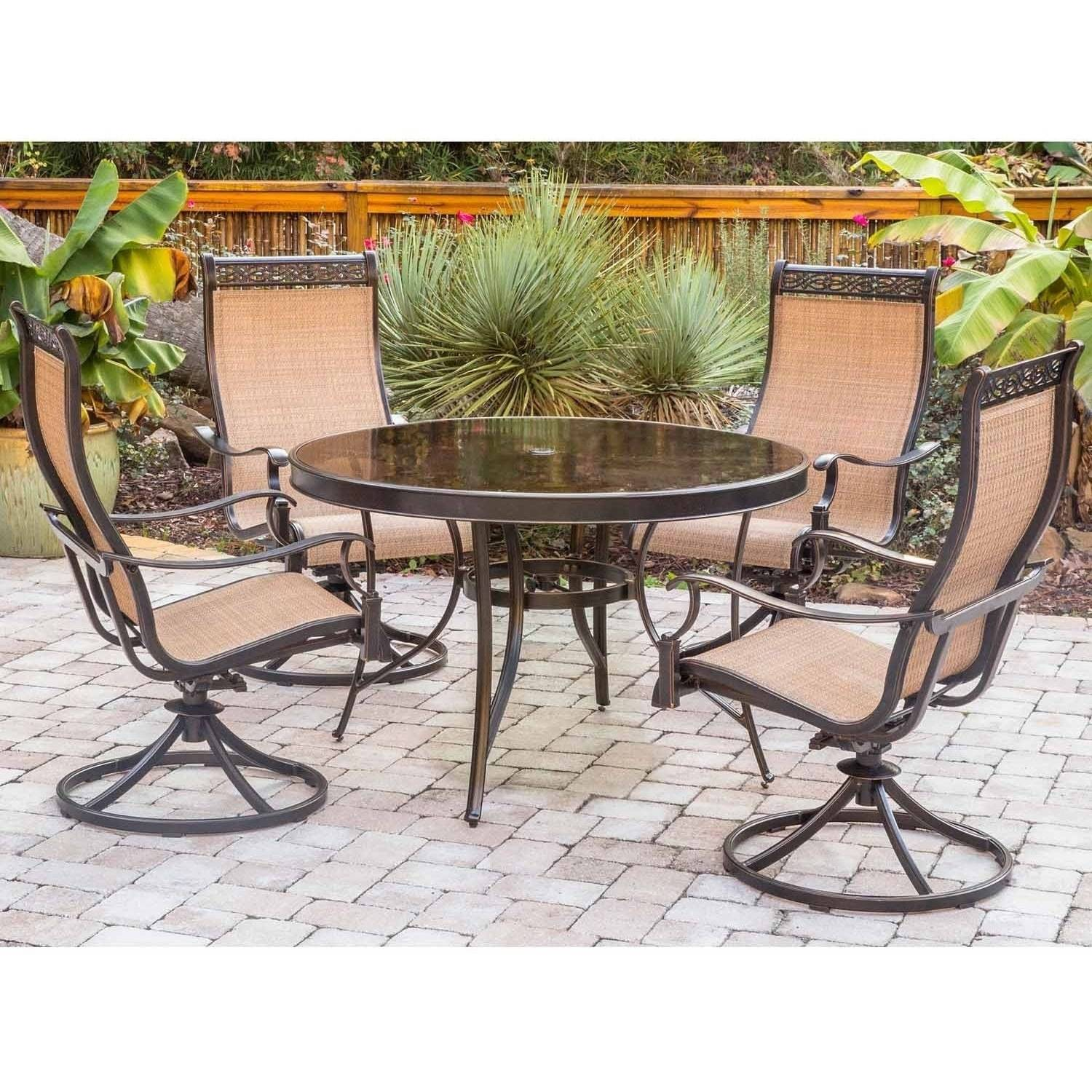 Hanover Outdoor Monaco 5-Piece Glass-Top Dining Set with Sling Swivel Rockers, Cedar