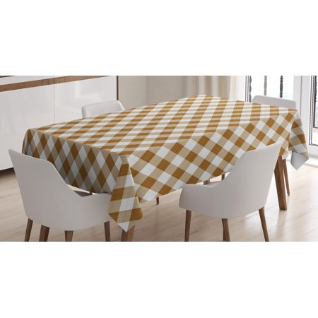Brown Tablecloth, Texture of Tartan Cloth Pattern Geometric Design Decorations for Home Theme Print, Rectangular Table Cover for Dining Room Kitchen, 60 X 84 Inches, Brown White, by Ambesonne (Movie Themed Table Decorations)