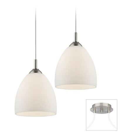 Possini Euro Design Opal Glass Brushed Nickel Double Multi Light Pendant