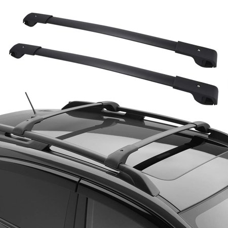 Cross Bars Roof Rack Compatible for 2014 2015 2016 2017 2018 2019 Subaru Forester with Side Rails Black Aluminum Top Roof Luggage Canoe Kayak Carrier Rack - Max Capacity 150lb (68