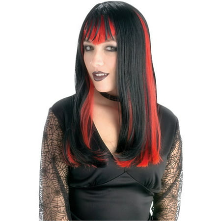Black Widow Red and Black Wig Adult Halloween Accessory](Red Hair Wigs)