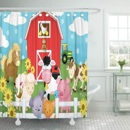 CYNLON Barn Farm Nursery Children Baby Cow Pig Bathroom Decor Bath Shower Curtain 60x72 inch