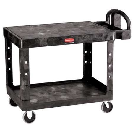 RUBBERMAID FG452500BLA Structural Foam Utility Cart with Deep Lipped & Flush Plastic Shelves, Ergonomic, 2 Shelves, 500 lb